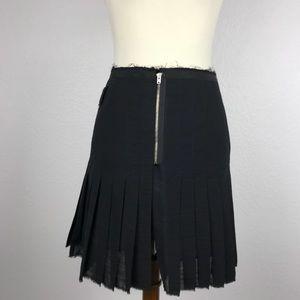 Band of Outsiders Wool Zip Pleat Mini Skirt SK83